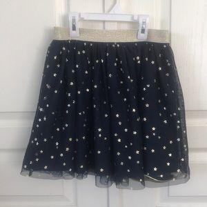 Girls Gap Navy Tulle Skirt w/ Gold Stars Sz L